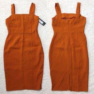 Nasty Gal Orange Middle Ground Midi Dress